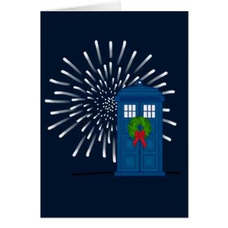 """Police Box with Christmas Wreath"" Card"