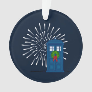 """""""Police Box with Christmas Wreath"""" Ornament"""