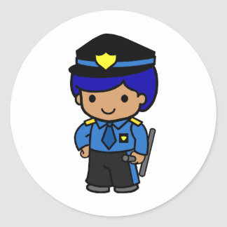 Police Boy Round Sticker