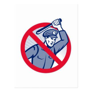 Police Brutality Policeman With Baton Postcard