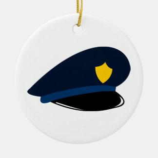 Police Cap Ceramic Ornament