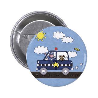 Police Car 2 Inch Round Button
