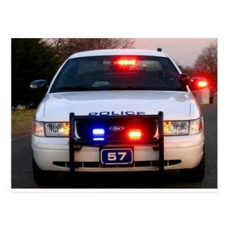 POLICE CAR - all lit up Postcard