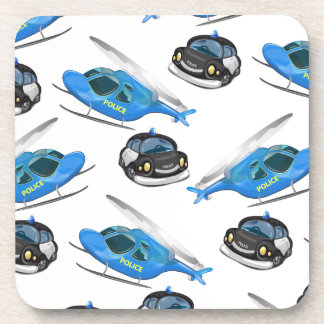 Police Car and helicopter Drink Coasters