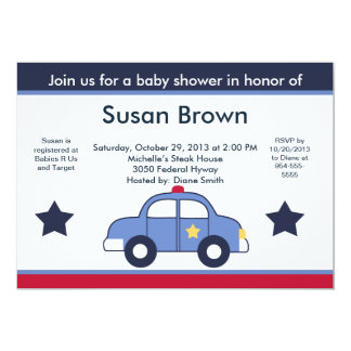 Police Car Baby Shower Invitation