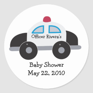 Police Car Baby Shower or Birthday Favor Sticker