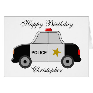 Police Car Just Add Name Birthday Card
