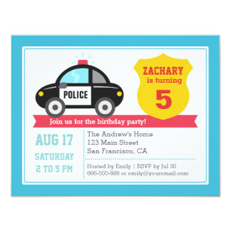Police Car Kids Birthday Party Invitation