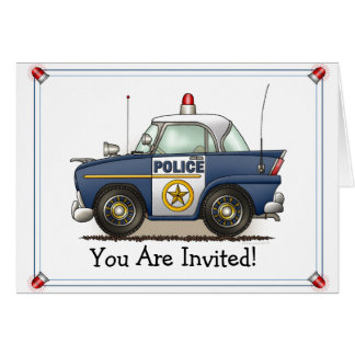 Police Car Police Crusier Cop Car Party Invitation