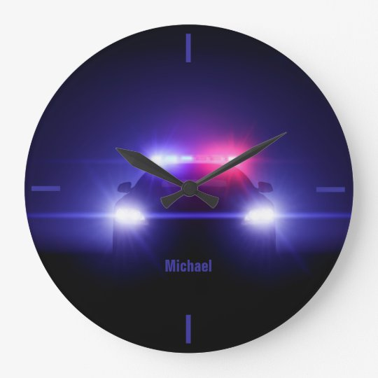 Police Car  With Full  Lights Wall Clock