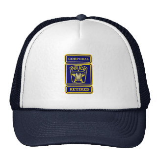 Police Corporal Retired Badge Trucker Hat
