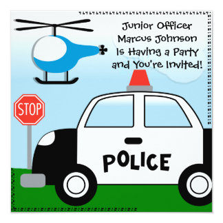 Police Customized Birthday Invitation