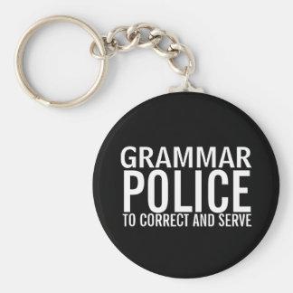 Police de grammaire à corriger et servir porte-clé rond