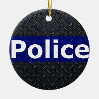 Police Diamond Plate Thin Blue Line Ceramic Ornament