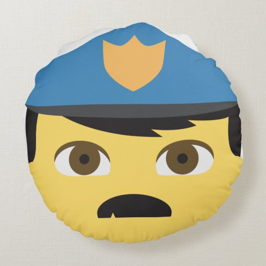 Police Emoji Round Pillow