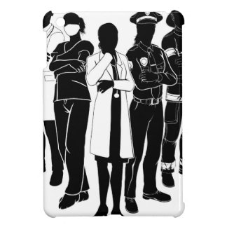 Police Fire Doctor Emergency Team Silhouettes iPad Mini Covers