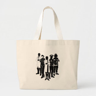 Police Fire Doctor Emergency Team Silhouettes Large Tote Bag