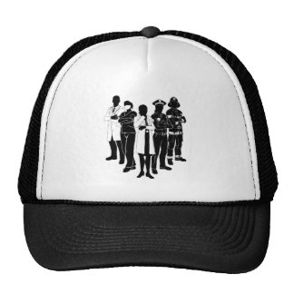 Police Fire Doctor Emergency Team Silhouettes Trucker Hat