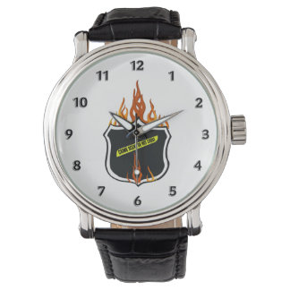 Police Flaming Badge Watch