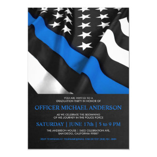 Police Graduation Invitations | USA Flag