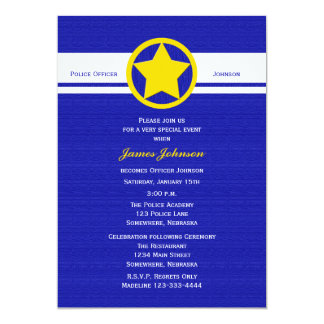 Police Graduation Invitations Yellow Police Badge