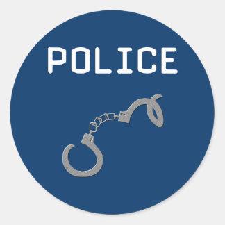 Police Handcuffs Round Sticker