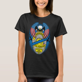 Police Heroes Live Forever Memorial Badge T-Shirt