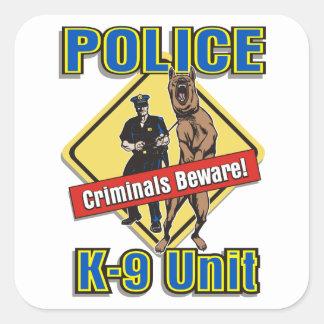 Police K9 Criminals Beware Square Sticker