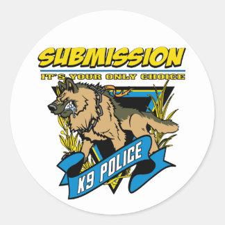 Police K9 Submission Round Sticker