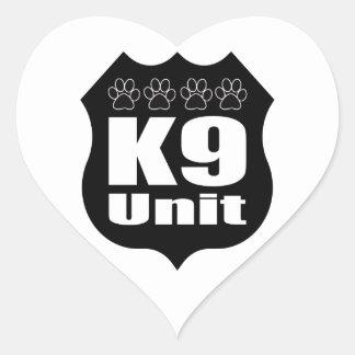 Police K9 Unit Black Badge Dog Paws Heart Sticker