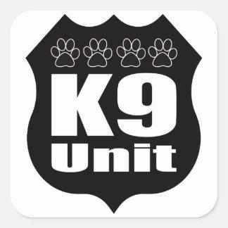 Police K9 Unit Black Badge Dog Paws Square Sticker
