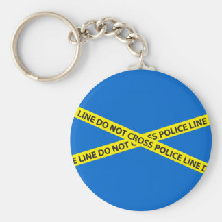 POLICE LINE DO NOT CROSS tape Basic Round Button Keychain