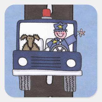police man square sticker