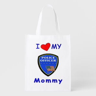 Police Mom Love Reusable Grocery Bags