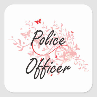 Police Officer Artistic Job Design with Butterflie Square Sticker