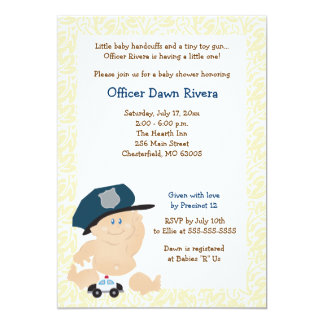 POLICE OFFICER Cop Baby Shower Invitation 5x7
