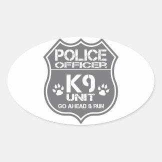 Police Officer K9 Unit Go Ahead Run Oval Sticker