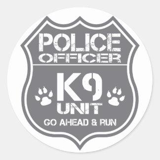 Police Officer K9 Unit Go Ahead Run Round Sticker