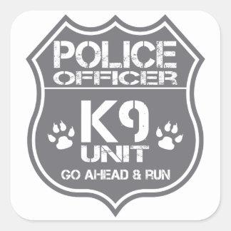 Police Officer K9 Unit Go Ahead Run Square Sticker