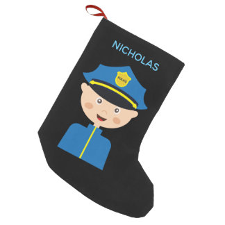 Police Officer - Law Enforcement - Cartoon Small Christmas Stocking
