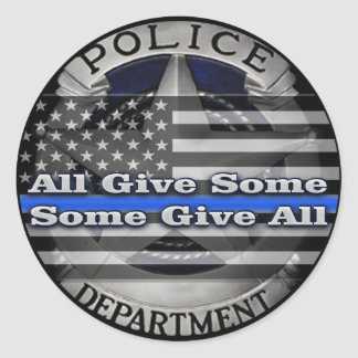 Police Officer Memorial Badge Classic Round Sticker