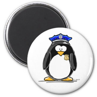 Police Officer Penguin 2 Inch Round Magnet