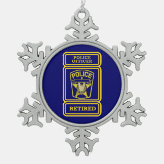 Police Officer Retired Badge Snowflake Pewter Christmas Ornament