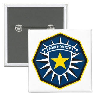 Police Officer Star 2 Inch Square Button