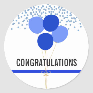 Police Party Themed Congratulations White Classic Round Sticker