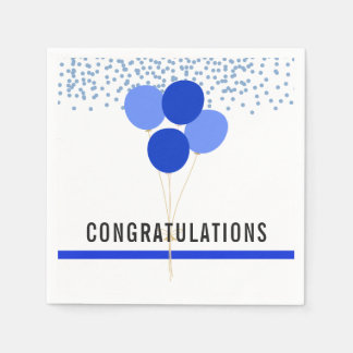 Police Party Themed Congratulations White Napkin