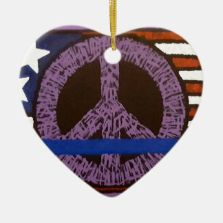Police Peace Sign. Ceramic Heart Ornament