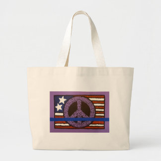 Police Peace Sign. Large Tote Bag