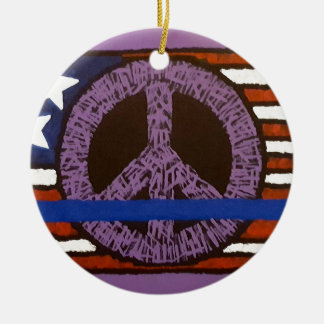 Police Peace Sign. Round Ceramic Ornament