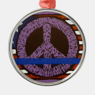 Police Peace Sign. Silver-Colored Round Ornament